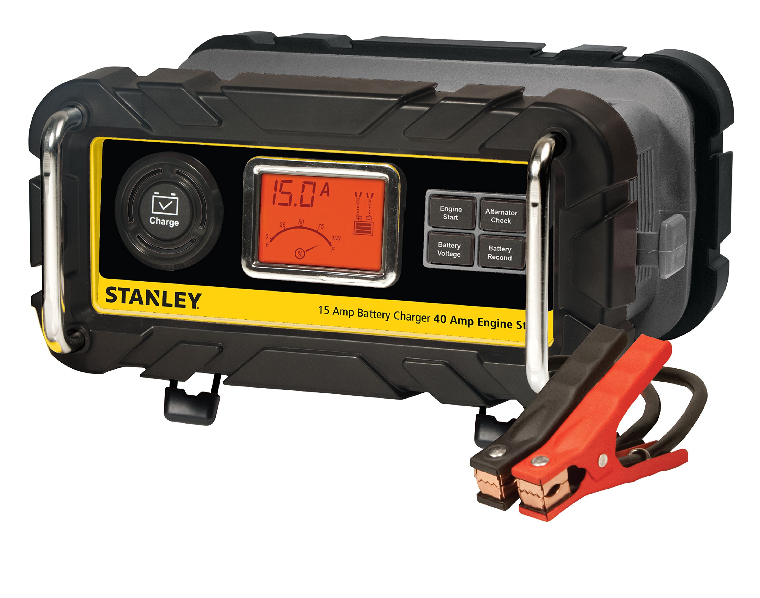 STANLEY BC15BS Fully Automatic 15 Amp 12V Bench Battery Charger/Maintainer with 40A Engine Start, Alternator Check, Cable Clamps by STANLEY (Image #1)