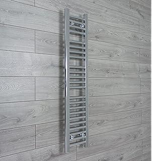250mm ancho x 1200mm alto Pequeño Estrecho Calefactado Toallero Recta Plana Cromado Baño Calentador Radiador Estantería