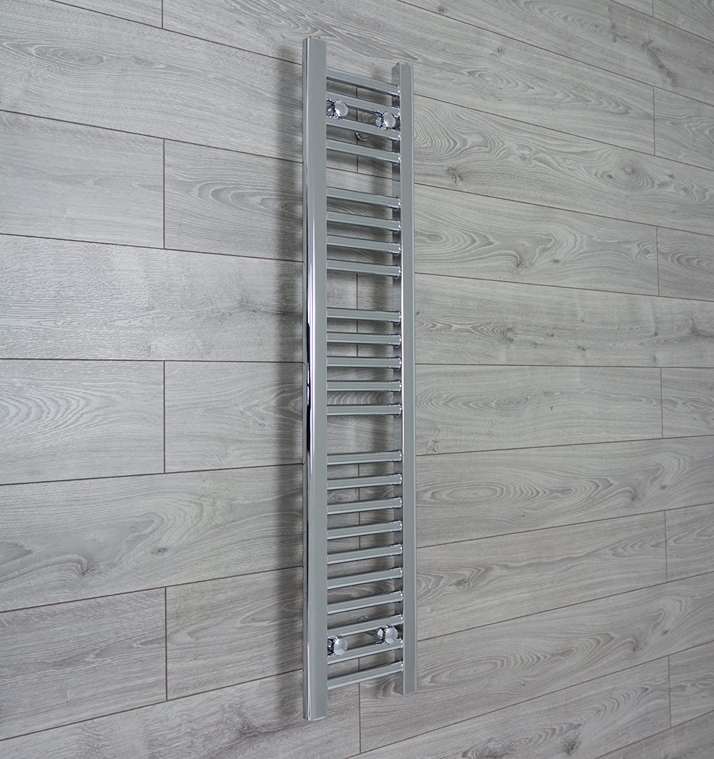 250mm wide x 1200mm high Small Narrow Heated Towel Rail Straight Flat Chrome Bathroom Warmer Radiator Rack