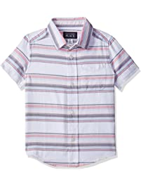 The Childrens Place Baby Boys Printed Short Sleeve Button Down