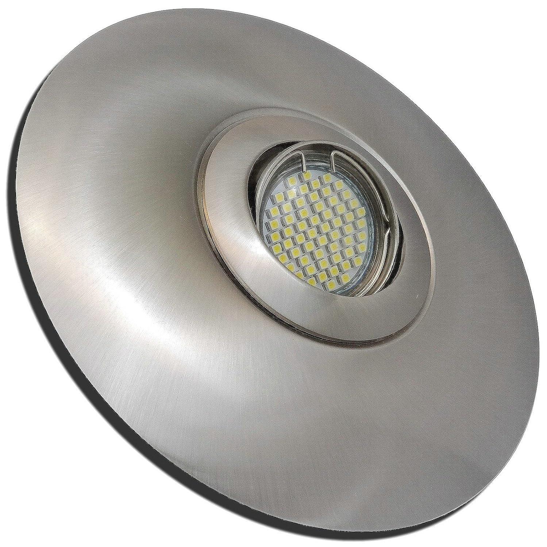 4 Stück SMD LED Einbaustrahler Big Linus 230 Volt 5 Watt Step Dimmbar Schwenkbar Edelstahl geb.   Neutralweiß
