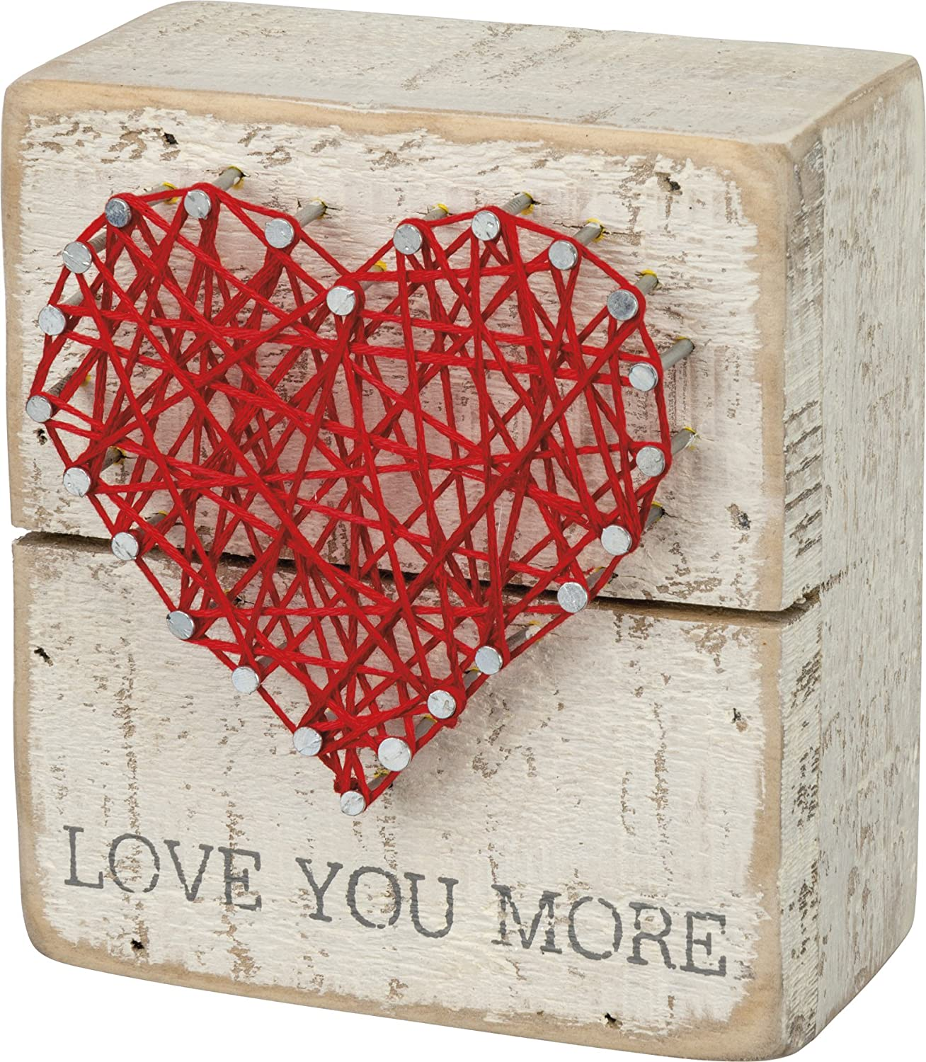 "Primitives by Kathy 34248 Rustic White String Art Box Sign, 3.5"" x 4"", Love You More"
