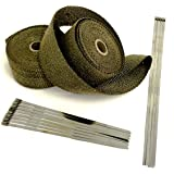 WHITE High Temperature Header Exhaust Pipe Insulation Wrap Kit WT116225TK 1 Roll 2 INCH WIDE X 25 FEET LONG with Stainless Steel Zip Ties Kit Thermal Zero