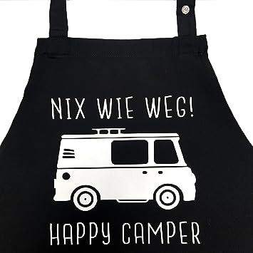 Nix Wie Weg Happy Camper Lustige Grillschurze Fur Manner