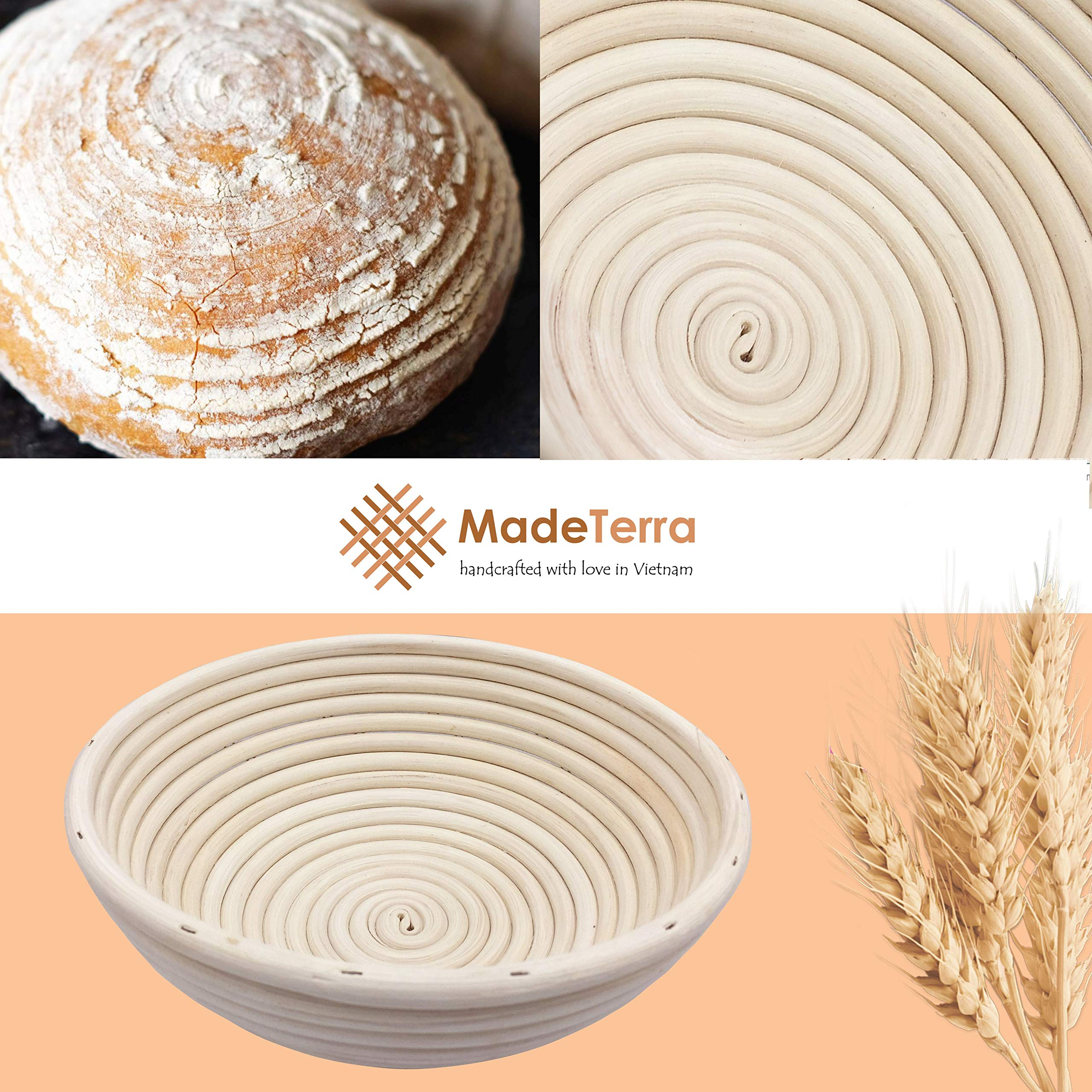 9 inch Banneton Proofing Baskets for Sourdough Bread | Wicker Round Brotform Set with Bamboo Dough Scraper & Cloth Liners | Food-Safe Cane Bread Proofer for Rising (3 Pack 9'' Round Bannetons) by Made Terra (Image #2)