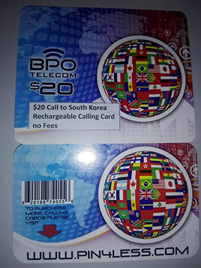 20 call to south korea rechargeable international calling card no fees - International Calling Cards