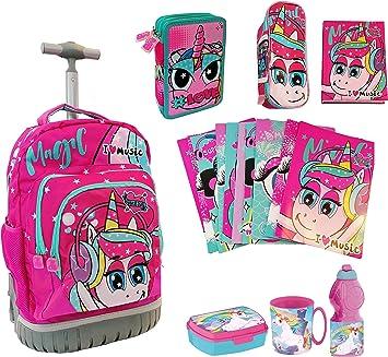 Mate Child Girl Unicorno - Juego de 6 mochilas con ruedas para la escuela + estuche con 3 cremalleras + diario + juego de desayuno: Amazon.es: Equipaje