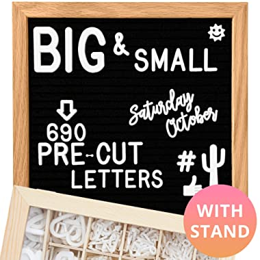 Felt Letter Board 10x10 (Black) | +685 PRE-Cut Letters +Stand +UPGRADED WOODEN Sorting Tray! Letters Board, Letter Boards, letterboard, Word Board, Message Board, Letter Sign, Changeable
