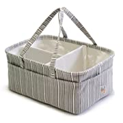 We Care Vida Diaper Caddy – Baby Registry – Best Baby Shower Gifts - Organize With Style Your Makeup, Yarn Craft, Toys, Wipes And Organizes Everything You Can Imagine - Gray Striped
