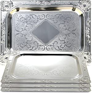 Maro Megastore (Pack of 4) 17.3-Inch x 12.6-Inch Rectangular Chrome Plated Serving Tray Edge Victoria Floral Engraved Decorative Holiday Wedding Birthday Buffet Party Dessert Platter Plate 2470 TS-262