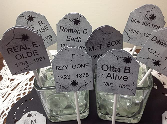 Halloween Tombstone Cupcake Topper Picks Funny Names Set Of 12