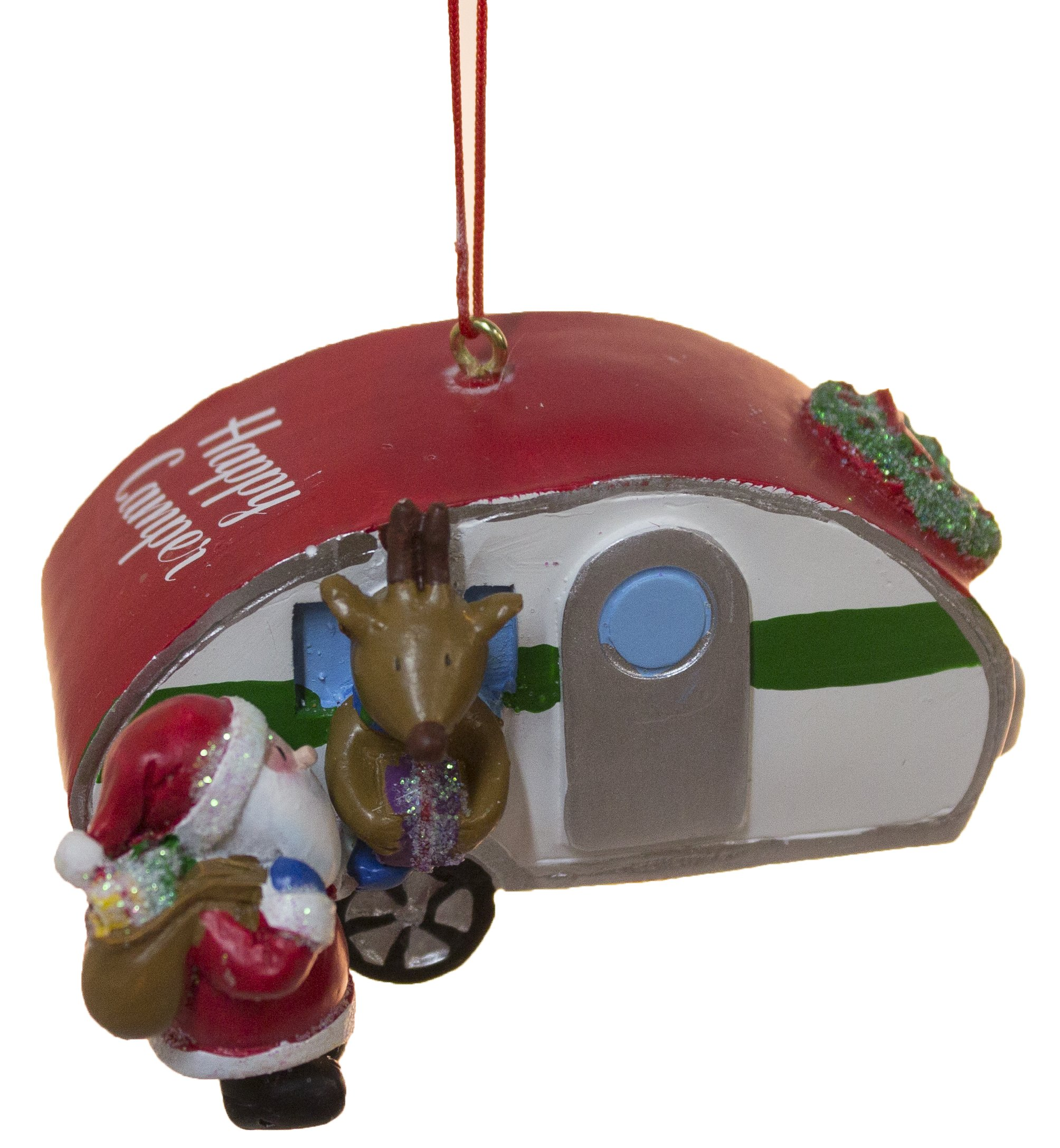 Santa with Camper and Reindeer Christmas/ Everyday Ornament