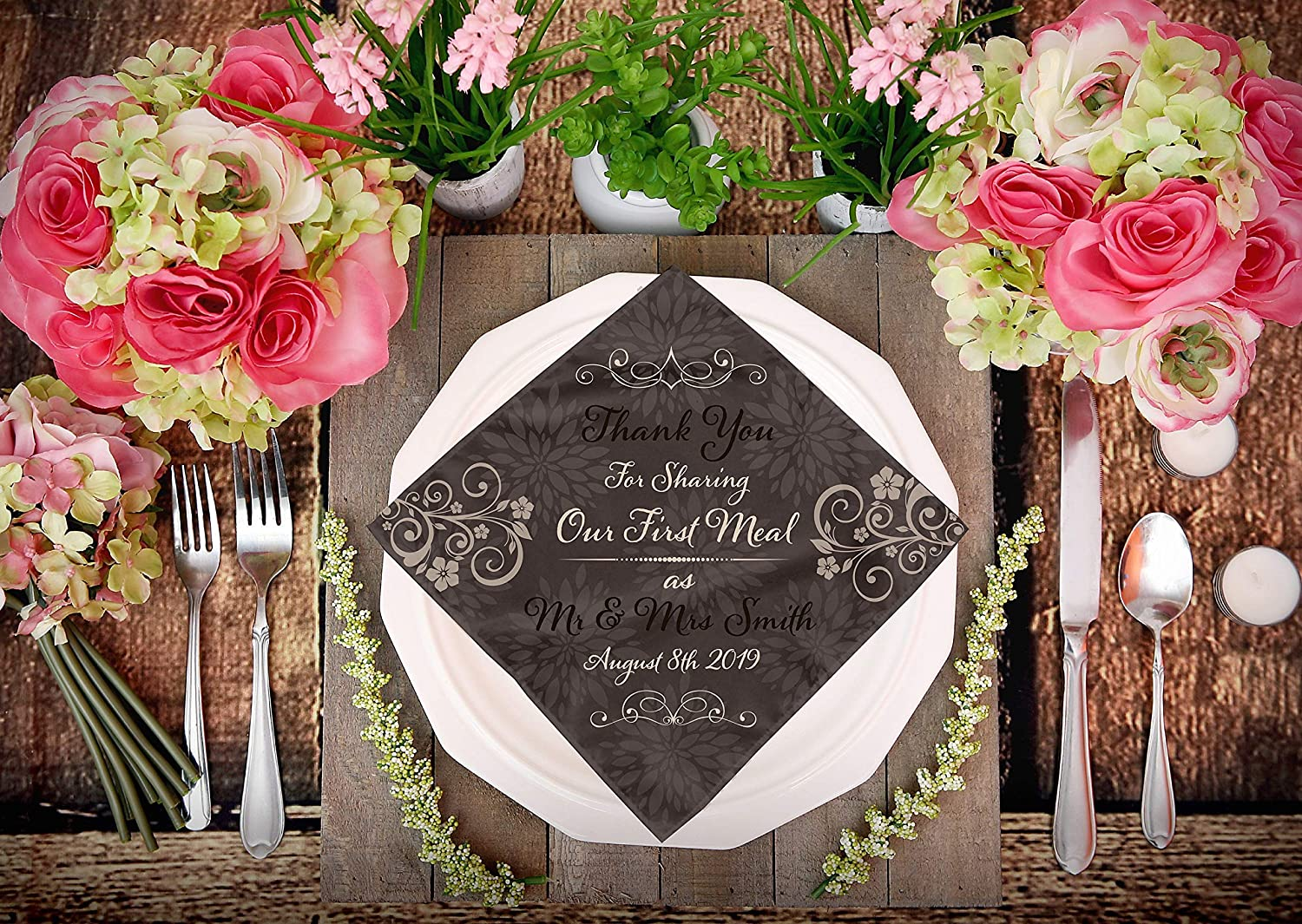 Mr//Mrs Napkins /& Mrs. Thank you for sharing our first meal as Mr Personalized Wedding Cloth Napkins Thank you Napkins 10 Dinner Napkins