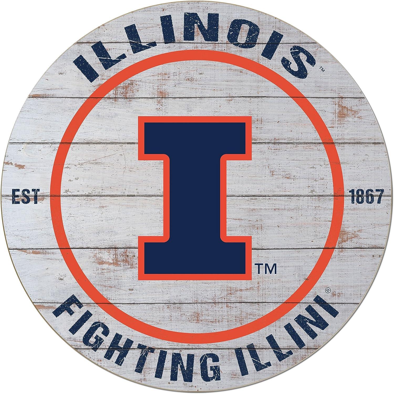"KH Sports Fan 20""x20"" Weathered Illinois Fighting Illini Classic Circle Wall Sign"