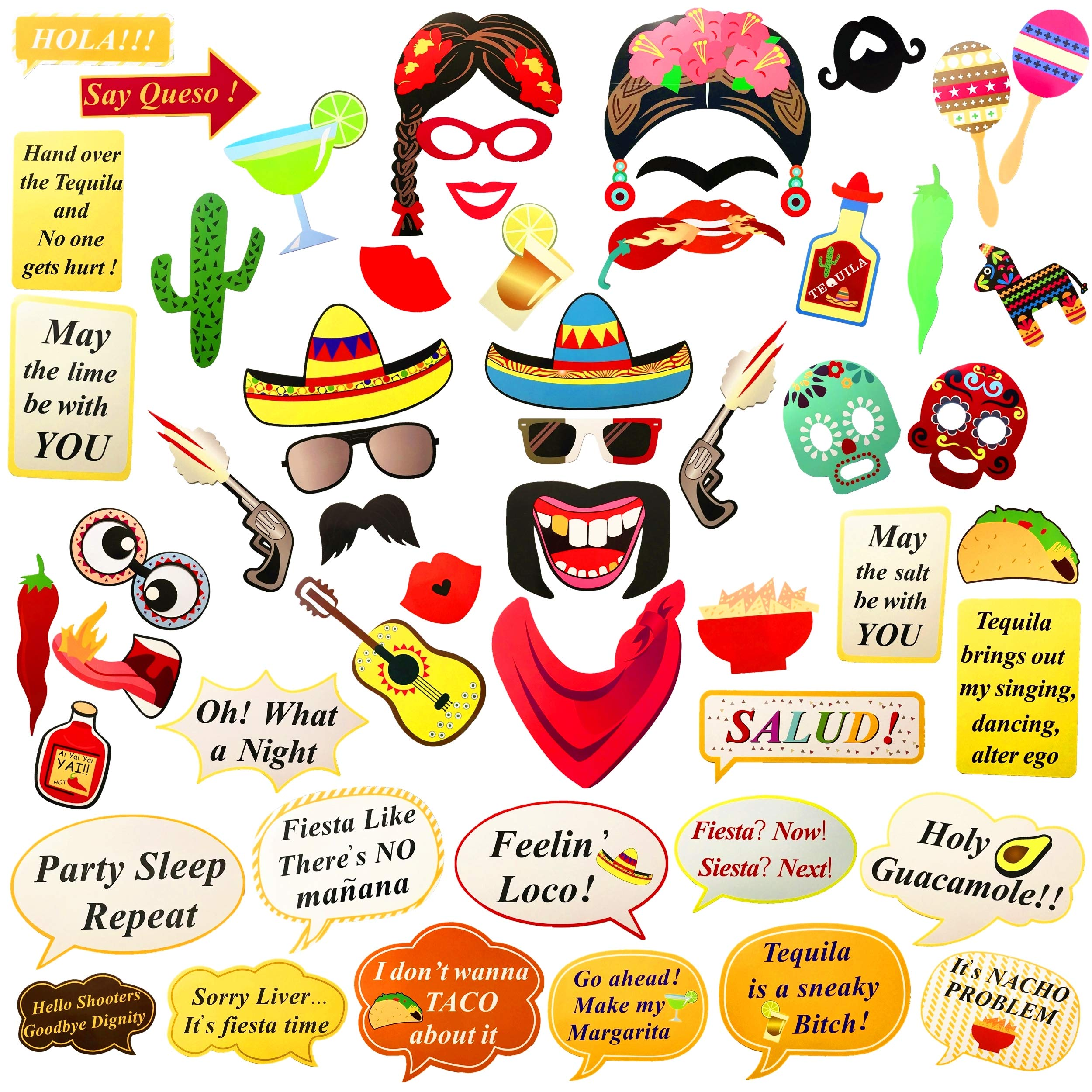 Fiesta Photo Booth Props Perfect For Mexican Party Decorations