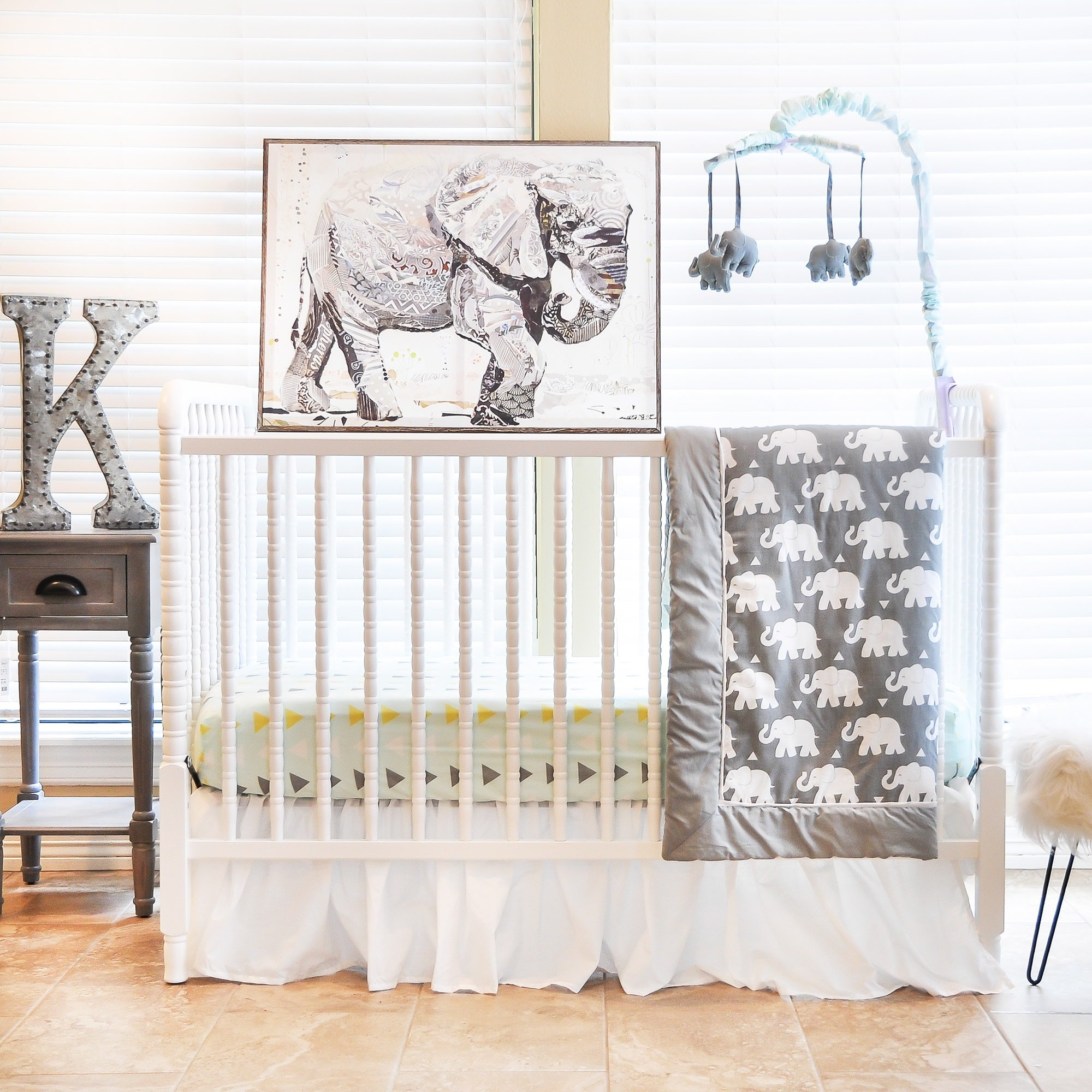 UK 6 Piece White Grey Yellow Baby Elephant Crib Bedding Set, Newborn Animal Themed Nursery Bed Set Infant Child Zoo Jungle Africa Trendy Chic Cute Blanket Quilt Triangle Pattern, Polyester Cotton