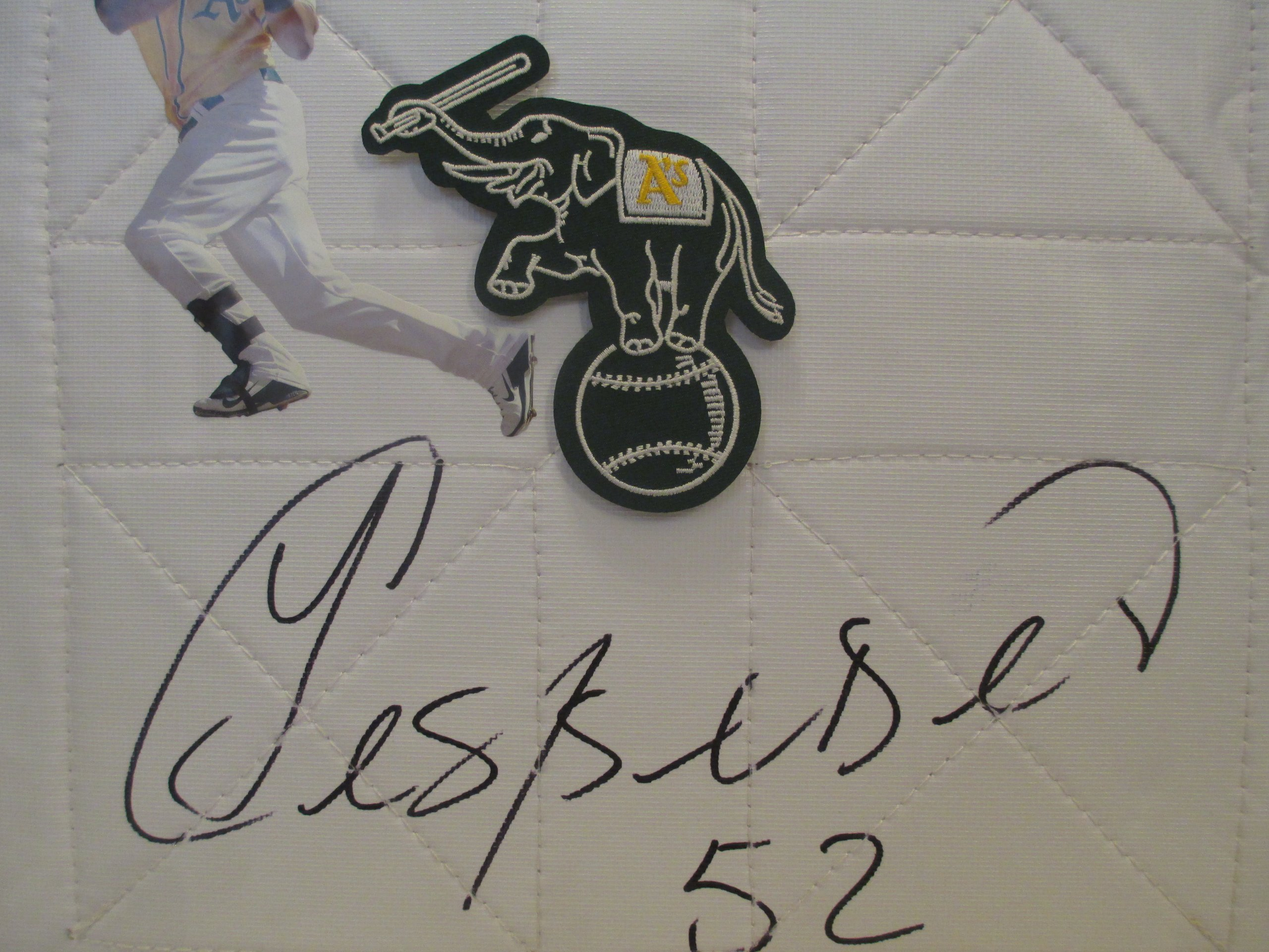 "Oakland Athletics Yoenis Cespedes Autographed Hand Signed Oakland A""s Elephant Baseball Photo Full Size Base with Proof Photo of Signing and COA"
