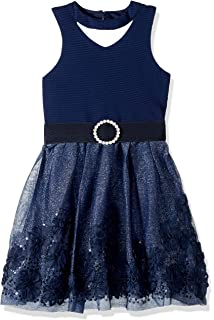 99b83d0aa97b Amazon.com  Zunie Little Girls Embroidered Mesh Dress