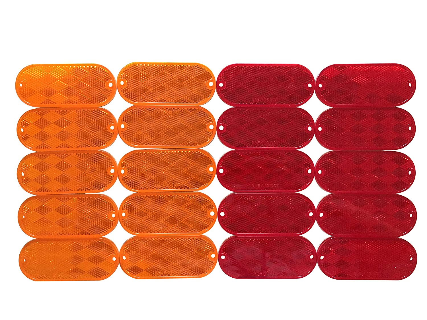 MaxxHaul 50016 20 Pack 20 Pack Oval Reflectors 10 Red-10 Amber Self Adhesive Or Drill Mount-DOT 20 Pack