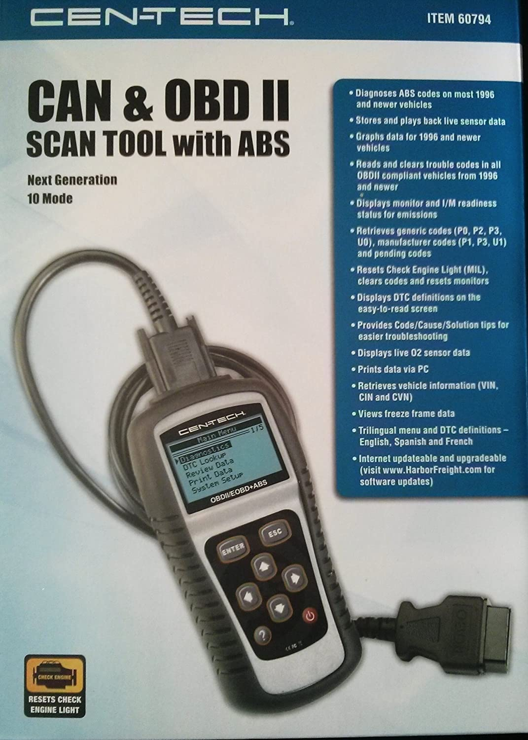 Cen Tech Can Obd Ii Scan Tool With Abs Item60794 Gm Wiring Diagram Automotive