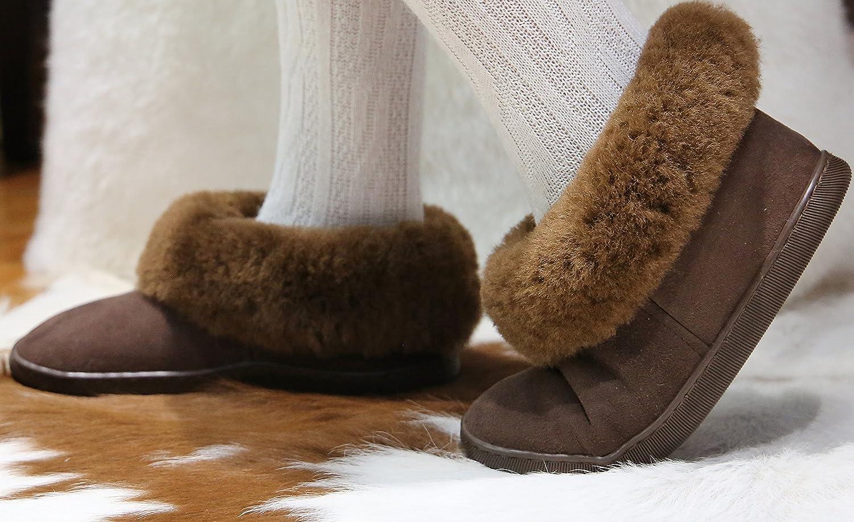 Lammfell Hausschuhe Bambi Damen Fellschuhe Lederschuhe