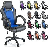 DWD-Company Racing Chefsessel Bürostuhl 14 Farbvarianten, gepolsterte Armlehnen, Wippmehanik, Lift SGS geprüft