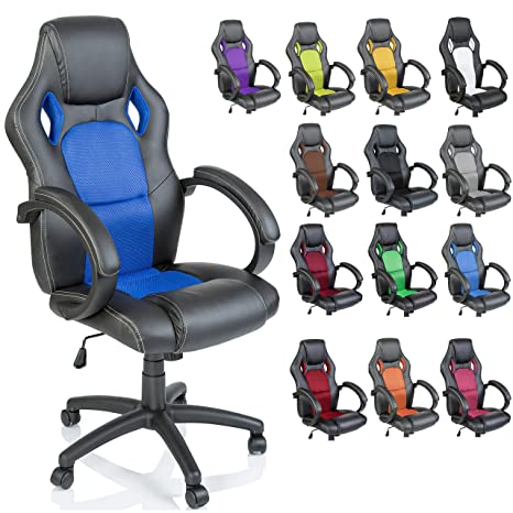 TRESKO Silla giratoria de oficina Sillón de escritorio Racing disponible en 14 colores, bicolor,