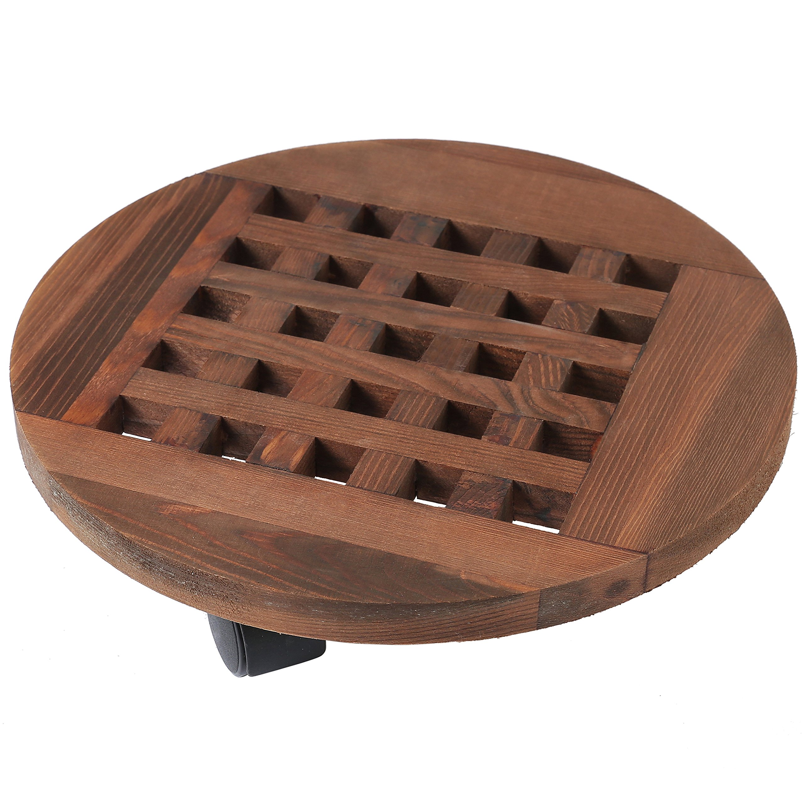 12 Inch Rolling Wooden Planter Caddy with 360° Rotating Casters, Garden Pot Dolly, Dark Brown