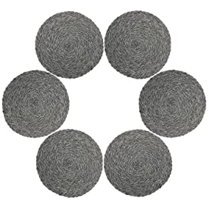 Topotdor Round Placemats Heat-Resistant Stain Resistant Anti-Skid Washable Polyproplene Table Mats Placemats (Set of 6, Braided-Gray)