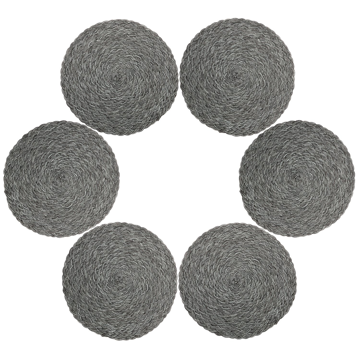 Placemts,Topotdor 15-Inch Round Placemat Braided Woven Placemats Set of 6 (Braided-Gray)