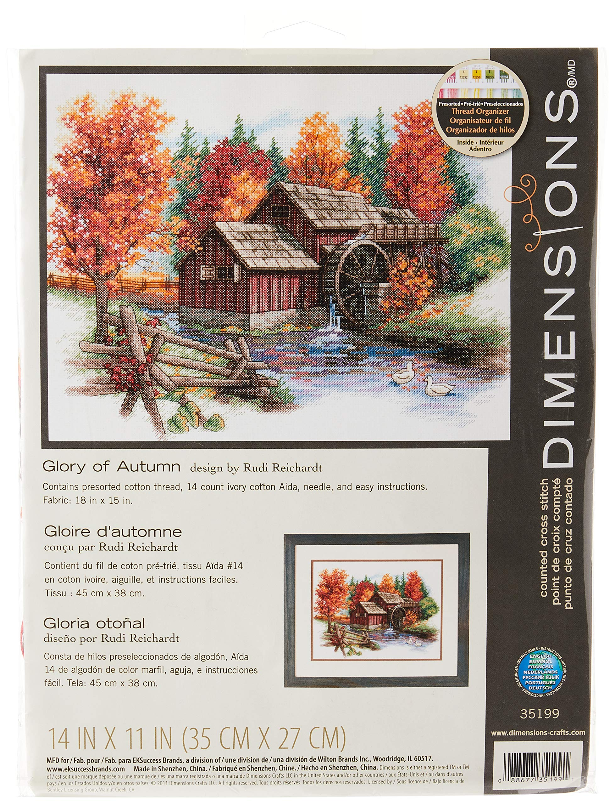 "Dimensions 'Glory of Autumn' Seasonal Counted Cross Stitch Kit, 14 Count Ivory Aida, 14"" x 11"""