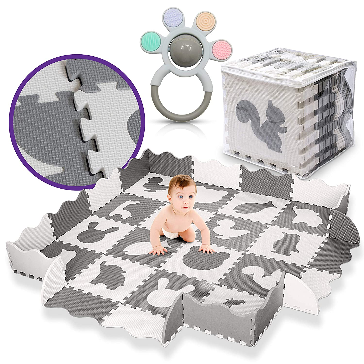 LA CHUPETA Large Baby Play Mat with Fence, Extra Thick 60x60x0.6 inches, Foam Interlocking Puzzle Tiles, Crawling Mat, Tummy Time & Floor Play, Gray and White, Bonus Teething Ring