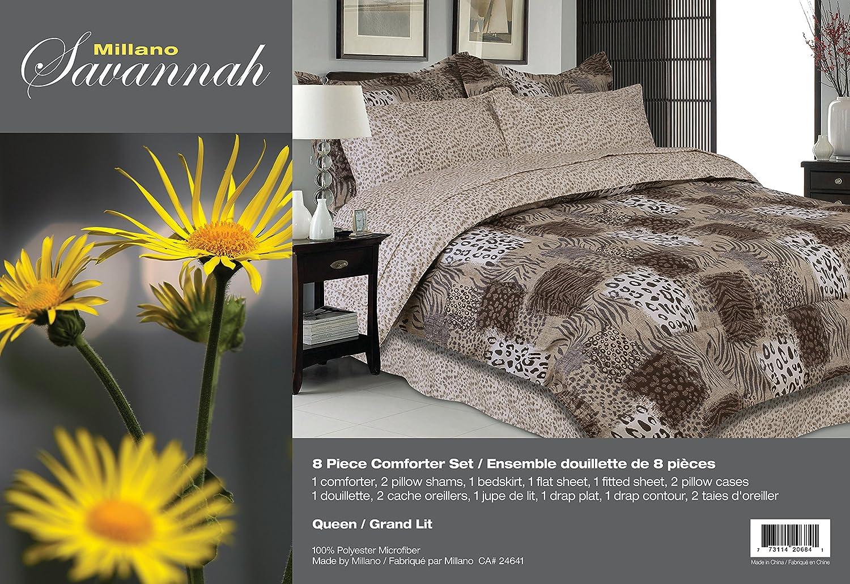 Savannah 8 Piece Comforter Set Printed 100 Polyester Double Size