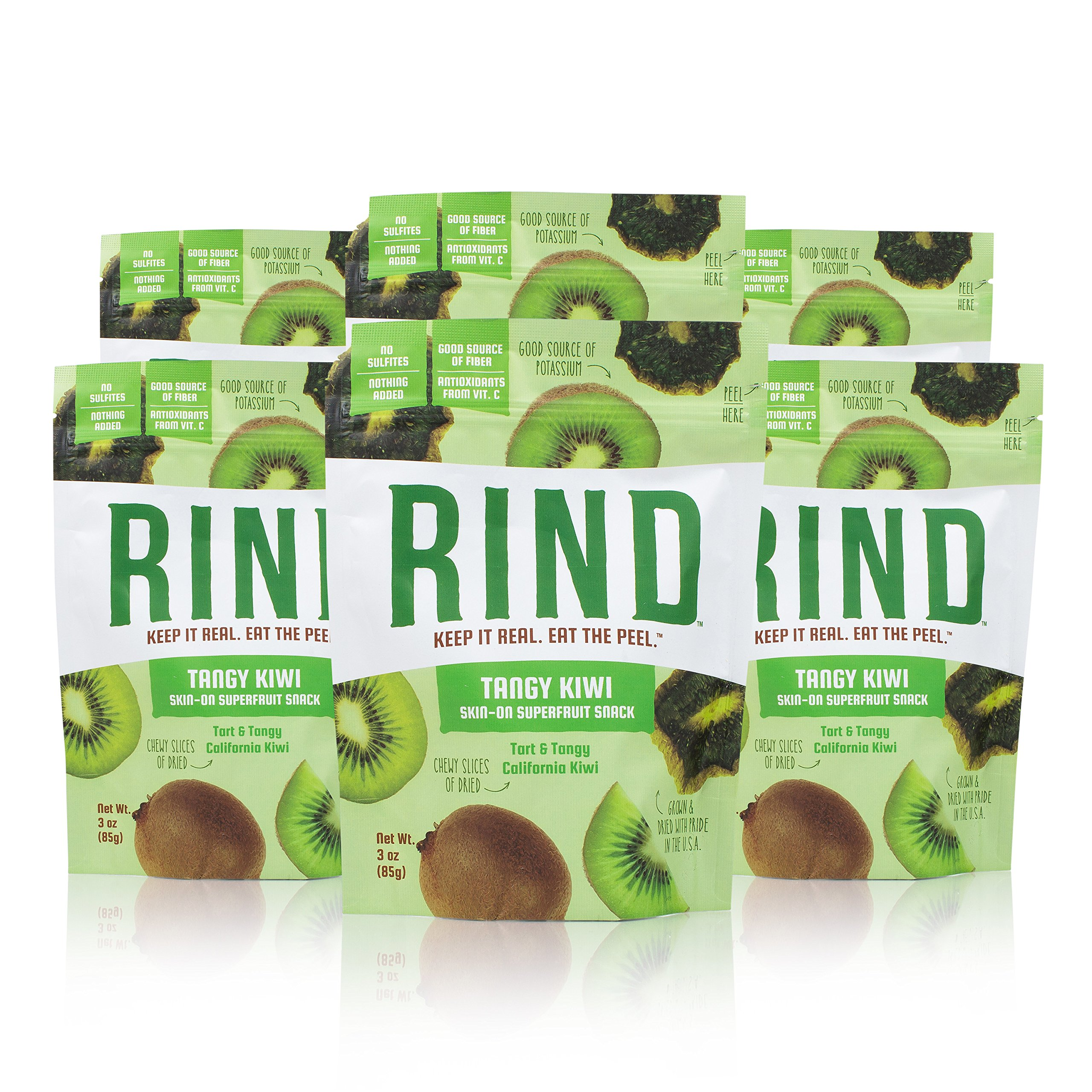 RIND Snacks Tangy Kiwi Sun-Dried Skin-On Superfruit Snack, High Fiber, No Sulfites, Antioxidants from Vitamin C, Non-GMO, Gluten-Free, 3oz Pouch, Pack of 6