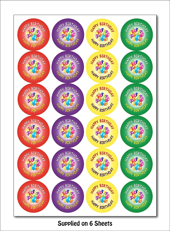 25702132f 144 x Feliz cumpleaños pegatinas etiquetas para cumpleaños Fiestas bolsas  de fiesta Regalos Niños: Amazon.es: Oficina y papelería