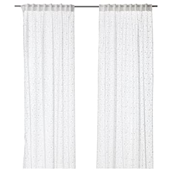 Amazon De Ikea Gardinen Paar Backtistel Weiss Blickdicht