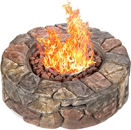 Amazon Com Best Choice Products 30 000 Btu Gas Fire Pit For Backyard Garden Home Outdoor Patio W Natural Stone Propane Hose Handle Cover Garden Outdoor