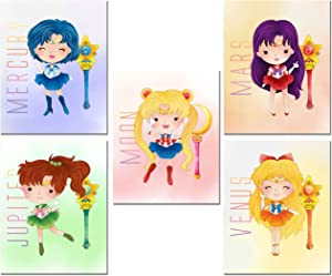 Sailor Moon Kids Prints - Set of 5 Cute (8 inches x 10 inches) Art Decor Photos - Moon Jupiter Venus Mars Mercury