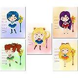 Sailor Moon Kids Prints - Set of 5 Cute 8x10 Art Decor Photos - Moon Jupiter Venus Mars Mercury