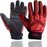 Anti Vibration Impact Gloves Heavy Utility Mechanic Safety Work Gloves with SBR Padding TPR Protector Red (Medium)