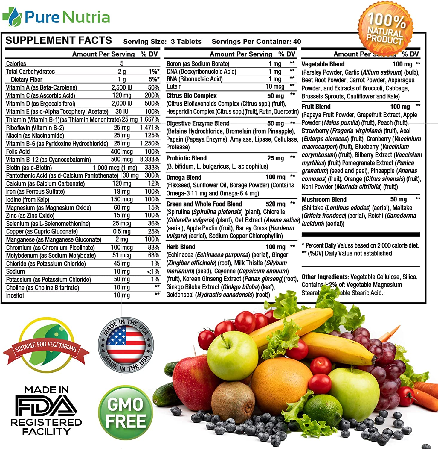 Whole Food MultiVitamin and Minerals with Probiotic Enzymes - 120 Multivitamins for Women and Men - Packed with WholeFood and Herbal Ingredients - Powerful Antioxidants for Digestive Support: Health & Personal Care