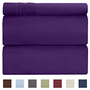 Twin Size Sheet Set - 3 Piece Set - Hotel Luxury Bed Sheets - Extra Soft - Deep Pockets - Easy Fit - Breathable & Cooling - Wrinkle Free - Comfy – Purple Plum Bed Sheets – Twins Sheets - 3 PC