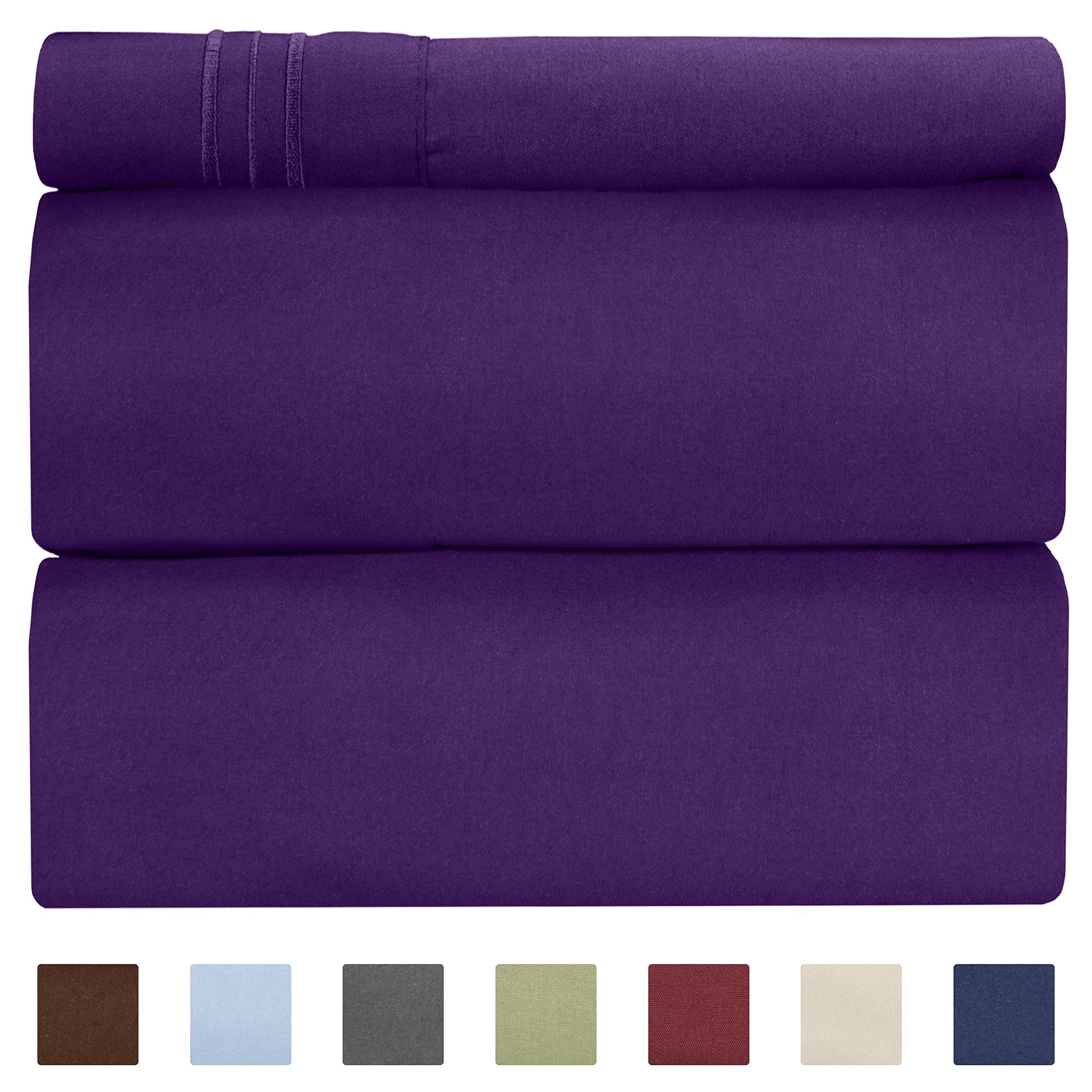 CGK Unlimited Twin XL Sheet Set - 3 Piece - Fits College Dorm Rooms - Hotel Luxury Bed Sheets - Extra Soft - Deep Pockets - Easy Fit - Breathable & Cooling - Purple Bed Sheets - Twins