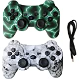 IHK 2 Pack Wireless Dual Vibration Controller for PS3, Gamepad Remote for Playstation 3 with Charge Cables, Green and Skull -