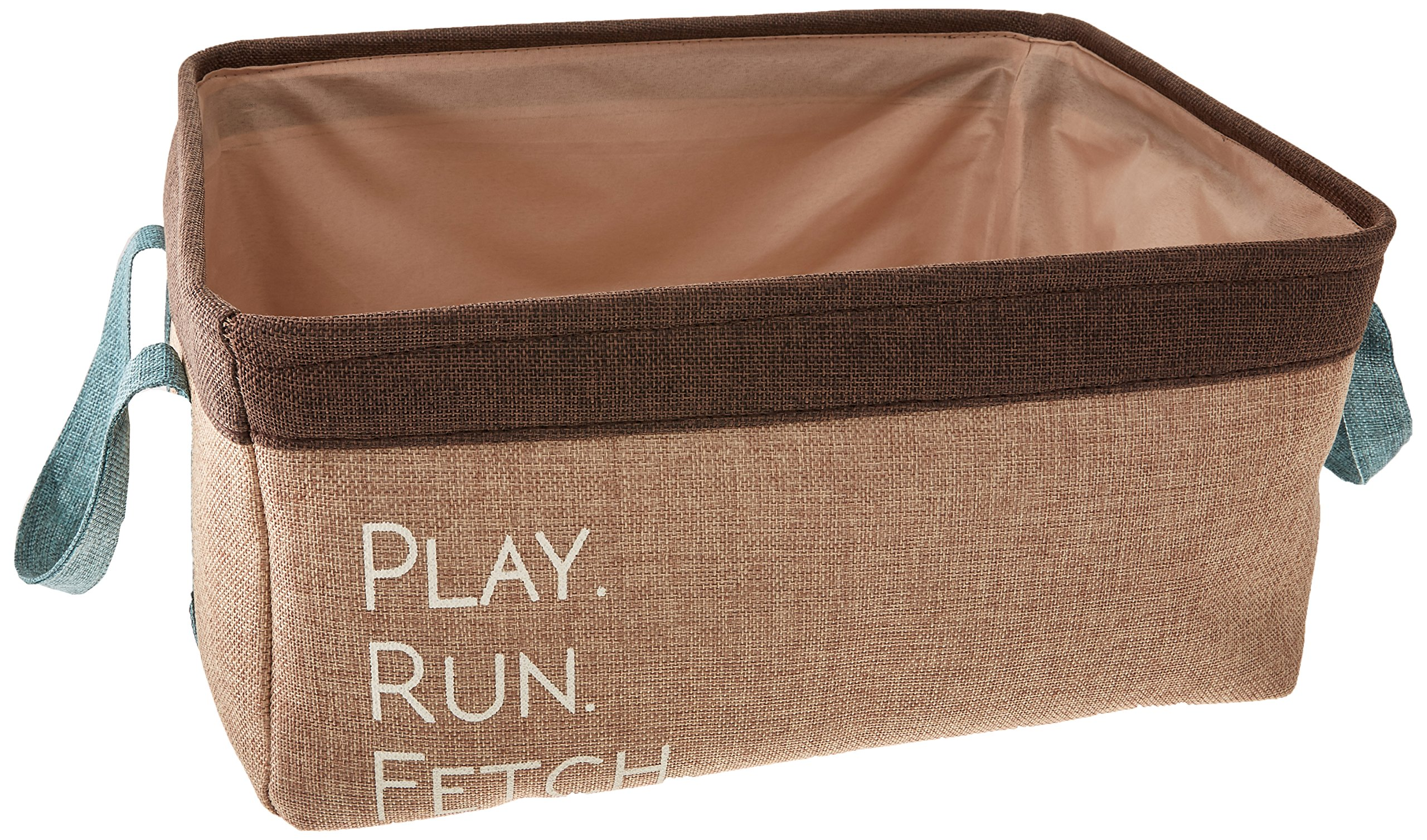 Winifred & Lily Pet Toy and Accessory Storage Bin, Organizer Storage Basket for Pet Toys, Blankets, Leashes and Food in Embroidered ''Play, Run, Fetch'', Taupe
