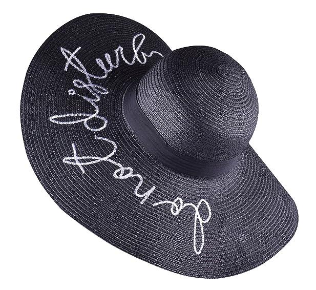 45dfdccfde1 Womens Black Floppy Hat Packable Wide Brim Hat with Black Ribbon black