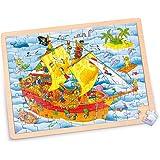 Goki - 57831 - Puzzle des Pirates en Bois - 96 Pièces