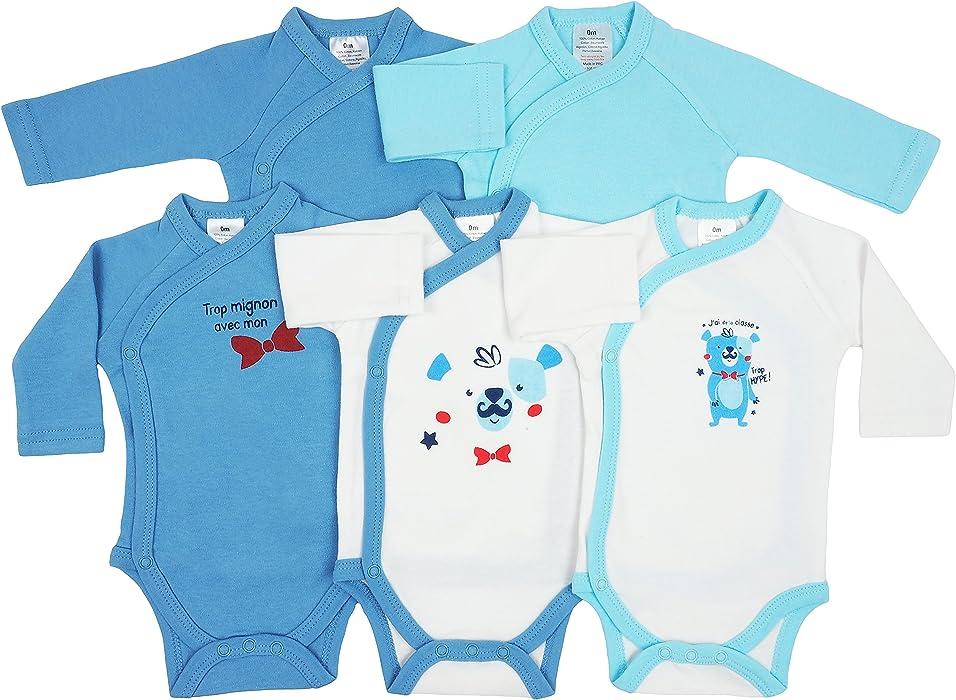 sale retailer 834cd 7ac9c 5er Pack Baby Jungen Bodys Wickelbodys Langarm Baumwolle ...