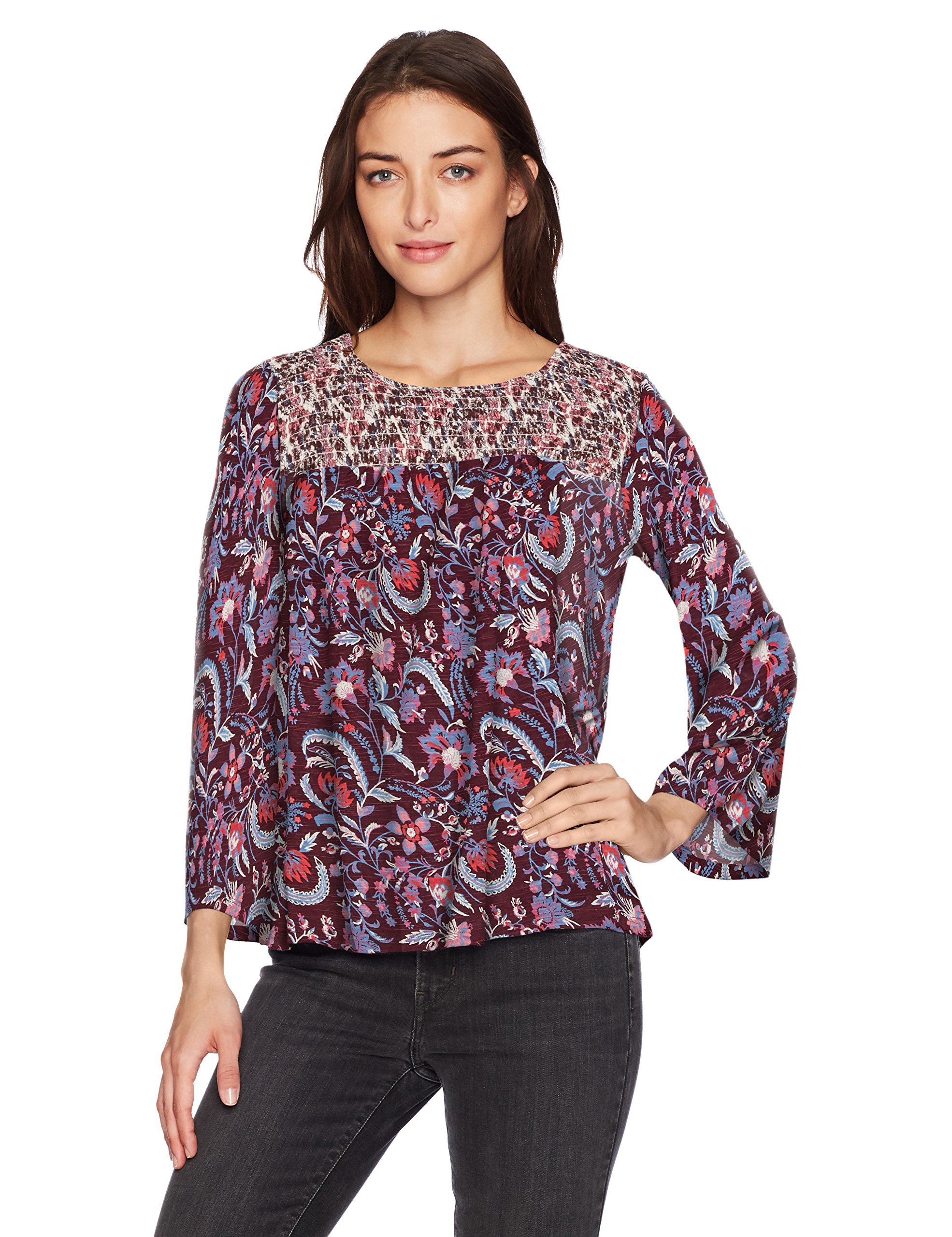 Lucky Brand Women's Mixed Print Smocked Top, Red/Multi, Medium