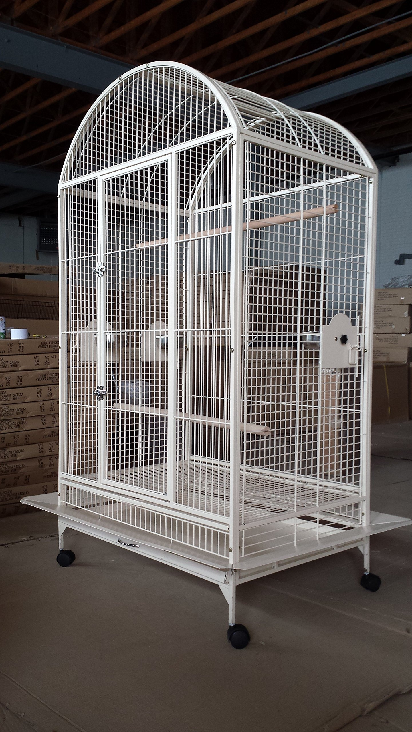 Everila PCDT36 Large Bird Cage Parrot Cages Dometop 36''x26''x65'' Macaw African Grey Cockatoo (Egg Shell White) by Everila